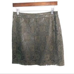LOFT Grey Lace Overlay Mini Skirt
